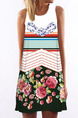 Colorful Loose Printed Above Knee Shift Floral Plus Size Dress for Casual Party