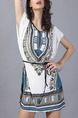 White and Lake Blue Loose Printed Band Above Knee Dress for Casual Party