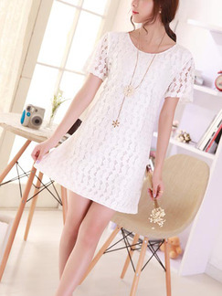 White Slim Lace Cutout Above Knee Shift Dress for Casual Party