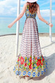 Colorful Slim Printed Furcal Maxi Halter Dress for Casual Beach