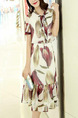 Beige and Red Slim Printed Band Midi Dress for Casual Party Office