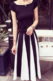 Black and White Slim Stripe Two-Piece Midi Plus Size Dress for Casual Party Office Evening