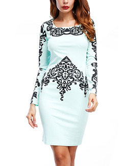 Mint Green Bodycon Located Printing Above Knee Long Sleeve Dress for Party Evening Cocktail