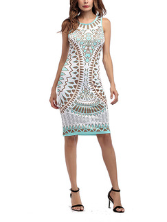 White Colorful Bodycon Printed Knee Length Plus Size Dress for Party Evening Cocktail