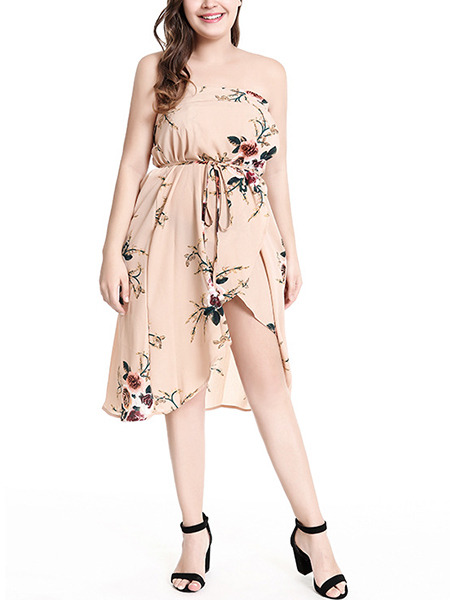 Beige Colorful Loose Printed Tube Band Knee Length Dress for Party Evening Cocktail