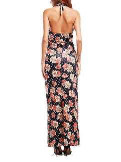 Colorful Slim Printed Sling Maxi V Neck Floral Dress for Party Evening Cocktail