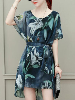 Blue and Green Loose Printed Band Above Knee Dress for Casual Party