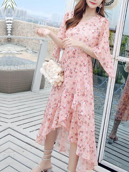 Pink Slim Floral Maxi Dress for Casual Beach Party
