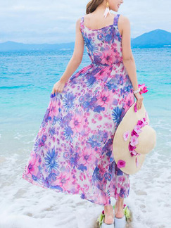 Lake Blue and Purple Slim Printed High-Waist Maxi Dress for Casual Party Beach