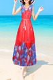 Red and Royal Blue Loose Located Printing Maxi  Dress for Casual Beach