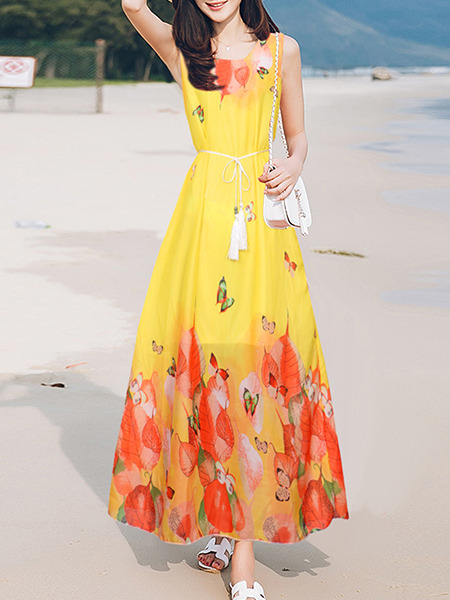 Yellow and Red Loose Located Printing Maxi  Dress for Casual Beach