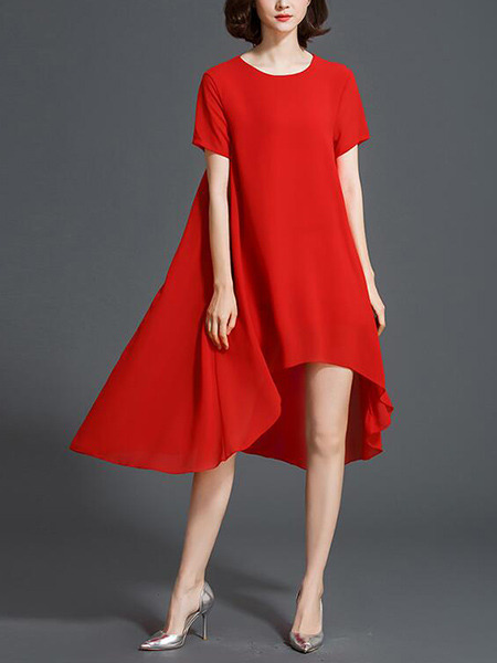 Red Loose Asymmetrical Hem Midi Shift Plus Size Dress for Casual Party Evening