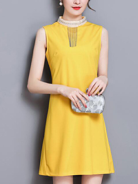 Yellow Slim Pleated Back Above Knee Shift Dress for Casual Party Evening Nightclub