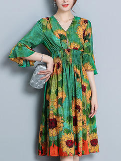 Green Yellow Colorful Loose Printed High Waist Knee Length Floral V Neck Dress for Casual Party