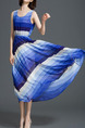 Blue and White Loose Contrast High Waist Maxi  Dress for Casual Party Beach