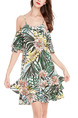 Colorful Loose Printed Off-Shoulder Above Knee Tropical Slip Dress for Casual Party Beach