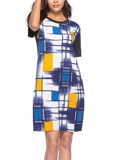 Colorful Slim Printed Above Knee Shift Dress for Casual Party