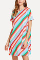 Colorful Loose Contrast Stripe Above Knee Shift Dress for Casual Party