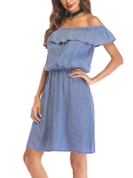 Light Blue Loose Off-Shoulder Open Back Above Knee Dress for Casual Party