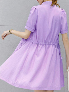 White and Purple Slim Contrast Two-Piece Dress for Casual Party Office