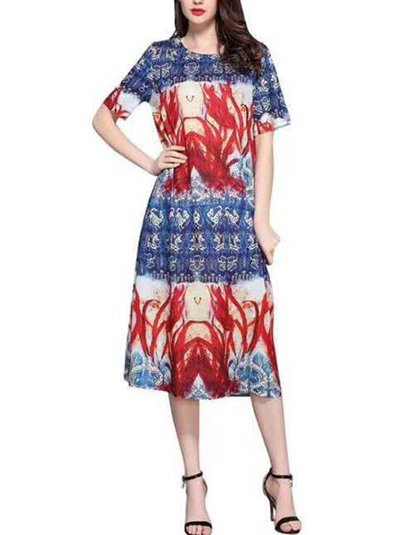 Colorful Loose Printed Midi Shift Dress for Casual Party