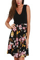 Black and Colorful Slim Linking Printed Above Knee Floral Dress for Casual Party