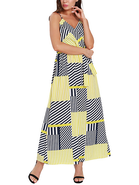 Black White and Yellow Slim Contrast Stripe Band Belt Maxi V Neck Slip Dress for Casual Party