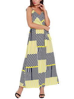 Black White and Yellow Slim Contrast Stripe Band Maxi V Neck Slip Dress for Casual Party