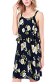 Blue White and Green Loose Sling Printed Above Knee Floral Slip Dress for Casual Party Beach