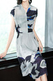 Gray Slim Contrast Located Printing Midi Plus Size V Neck Dress for Casual Party