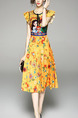 Yellow and Colorful Slim Printed Pleated Midi Plus Size Fit & Flare Floral Dress for Casual Party