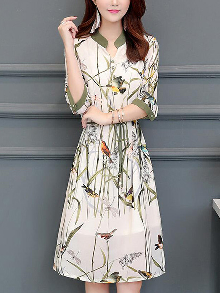 White and Colorful Slim Printed Band Knee Length Plus Size Dress for Casual Office Party