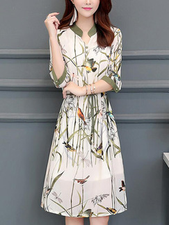 White and Colorful Slim Printed Band Belt Knee Length Plus Size Dress for Casual Office Party