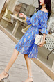 Blue Colorful Slim Floral Off-Shoulder Above Knee Fit & Flare Dress for Casual Party