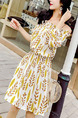 White and Yellow Slim Floral Off-Shoulder Above Knee Fit & Flare Dress for Casual Party