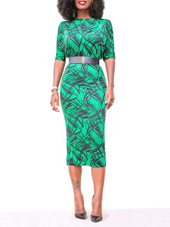 Green Slim Printed Over-Hip Midi Bodycon Dress for Party Evening Cocktail