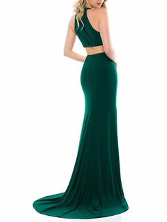 Dark Green Slim Over-Hip Furcal Maxi V Neck Dress for Party Evening Cocktail