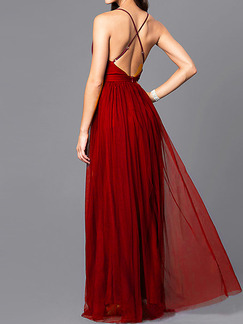 Wine Red Slim High Waist Mesh Open Back Maxi Slip V Neck Dress for Party Evening Cocktail