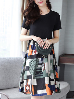 Black and Colorful Loose Printed Knee Length Plus Size Shift Dress for Casual Party