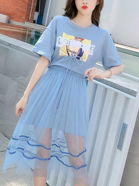 Blue Loose Printed Mesh Two-Piece Plus Size Midi Dress for Casual Party
