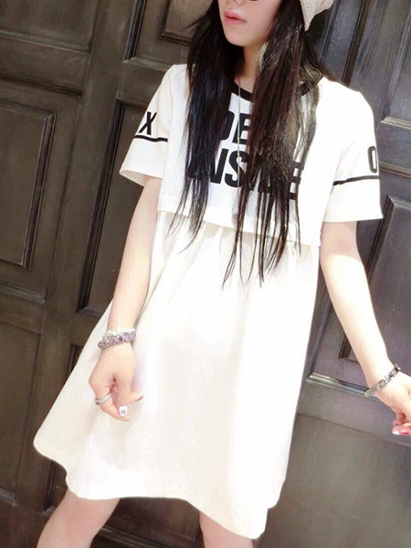 White Loose Contrast Letter Above Knee Shift Plus Size Dress for Casual Party