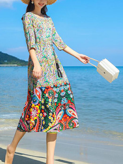 Colorful Loose Printed Band Belt Midi Plus Size Dress for Casual Party Beach