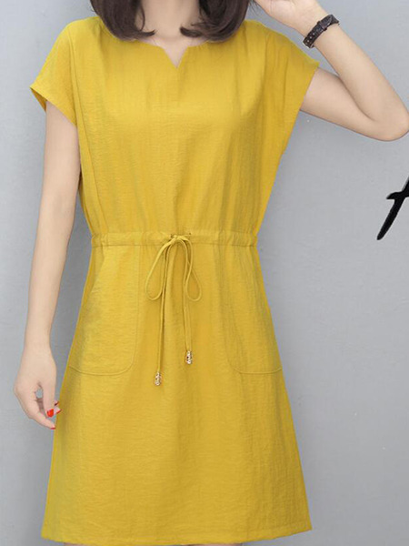 Yellow Loose Band Above Knee Fit & Flare Plus Size Dress for Casual Party