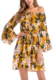 Yellow Colorful Slim Printed Band Above Knee Off Shoulders Long Sleeve Floral Dress for Casual Party Beach
