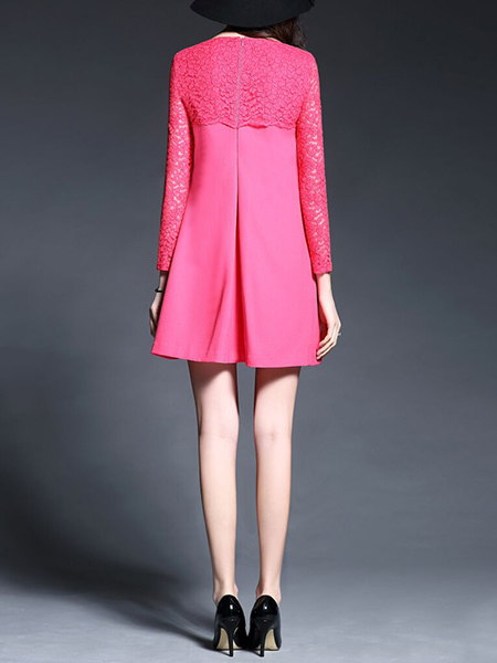 Rose-Carmine Loose Linking Lace Above Knee Long Sleeve Shift Dress for Casual Party