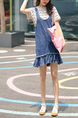 Blue Loose A-Line Denim Pleated Above Knee Dress for Casual Party