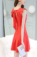 Red Slim Plus Size A-Line Round Neck Above Knee Fit & Flare Plus Size Dress for Casual Party Office