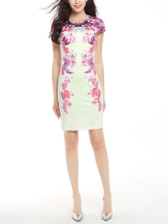 White and Pink Slim Plus Size Printed Round Neck Sheath Above Knee Plus Size Dress for Casual Party Office