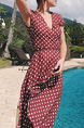 Red and White Polka Dot Slim Full Skirt Plus Size V Neck Asymmetrical Hem Plus Size Dress for Casual Party Beach