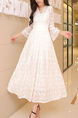 White Slim Plus Size Full Skirt Lace V Neck Dress for Party Evening Bridesmaid Prom